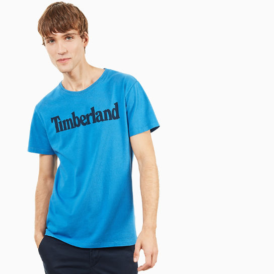 Kennebec River Linear Logo T-Shirt for Men in Blue | Timberland