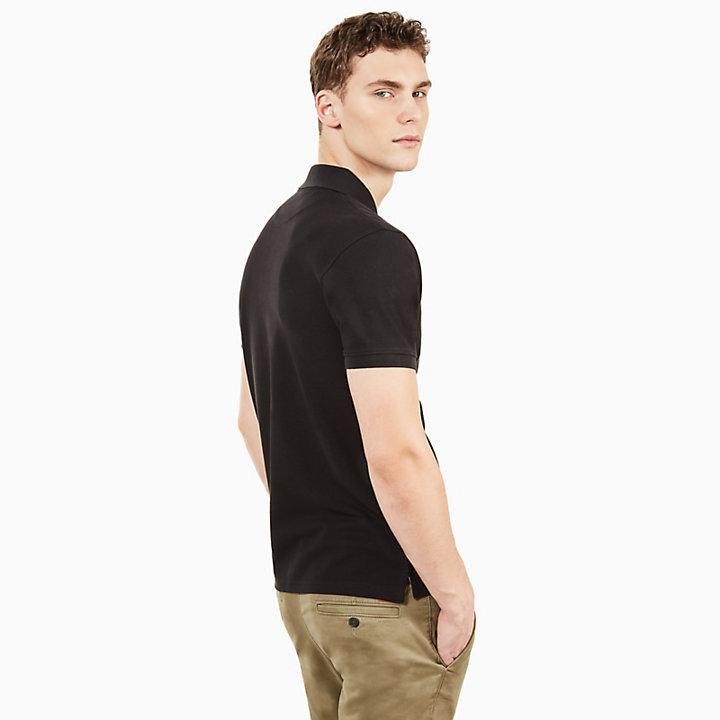 Millers River Slim Polo Shirt for Men in Black-