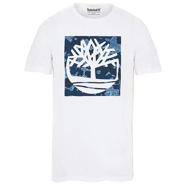 Kennebec River Pattern T-Shirt for Men in White-