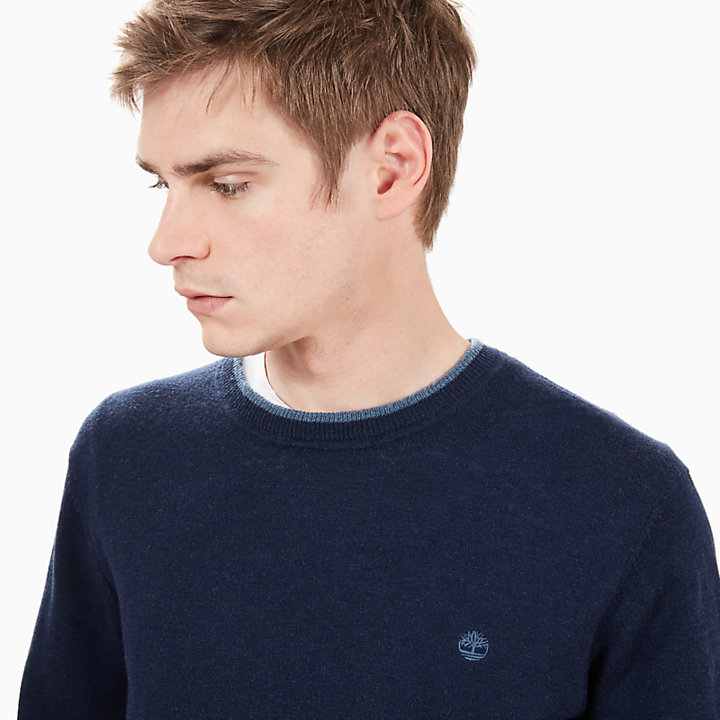 Jones Brook Merino-Rundhalspullover für Herren in Navyblau-