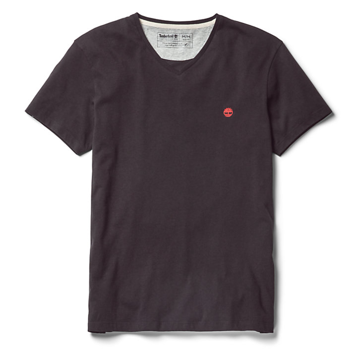 Dunstan River V-Neck T-shirt Heren in zwart-