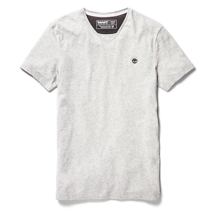 T-shirt da Uomo con Scollo a V Dunstan River in grigio-