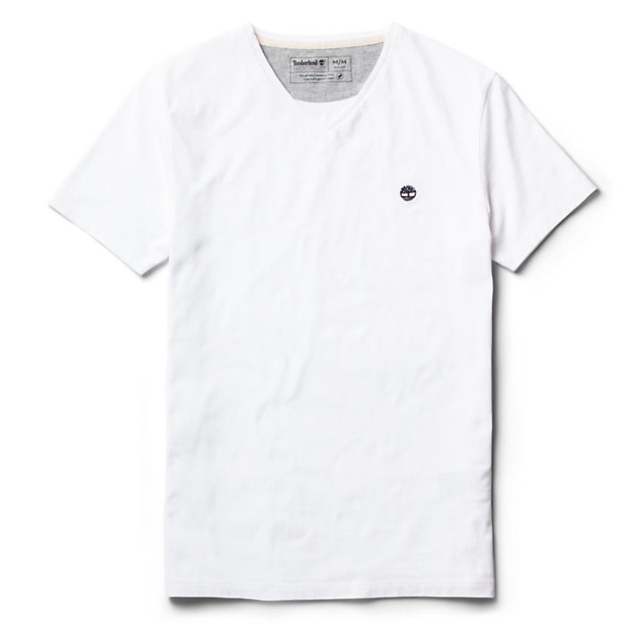 Dunstan River V-Neck T-Shirt for Men in White-