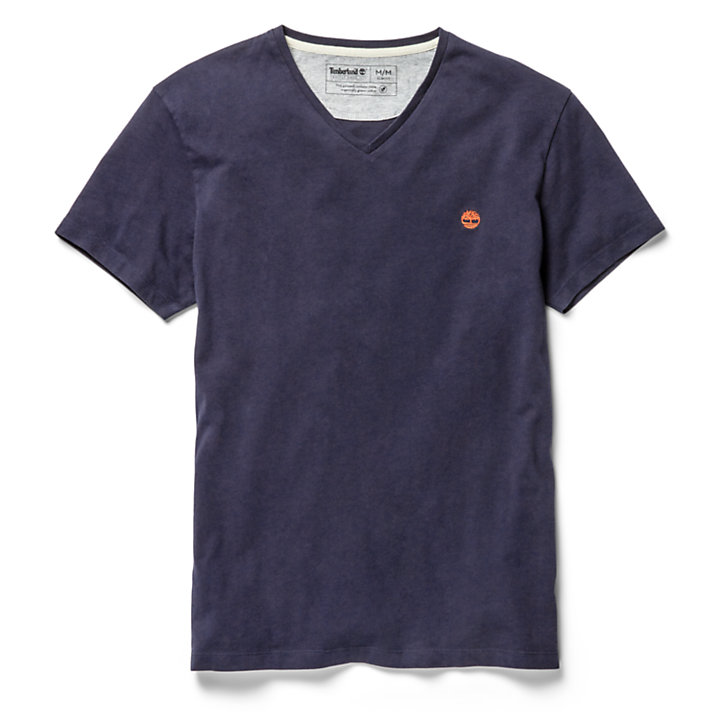 Dunstan River V-Neck T-Shirt for Men in Navy-