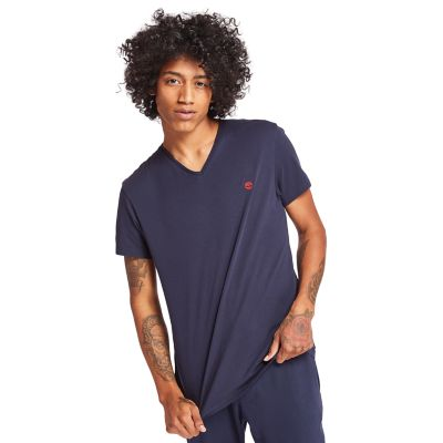 Dunstan+River+V-Neck+T-shirt+Heren+in+Marineblauw