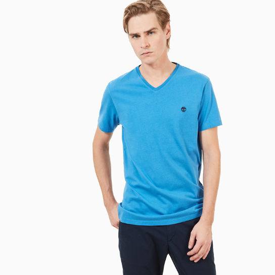 Dunstan River V-Neck T-shirt Heren in Blauw | Timberland