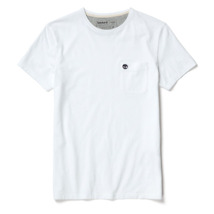 Dunstan River Pocket T-Shirt for Men in White-