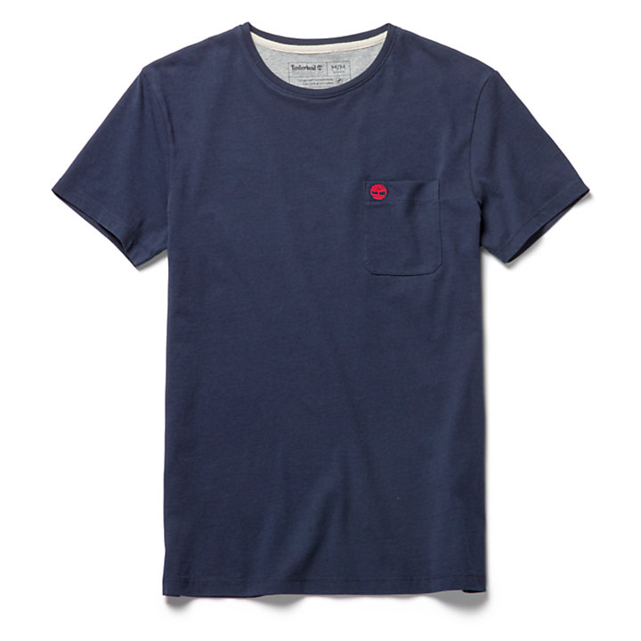 Dunstan River Pocket T-shirt voor Heren in marineblauw-