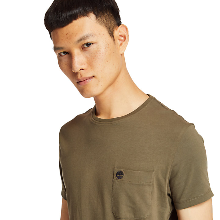Dunstan River Pocket T-Shirt for Men in Green-