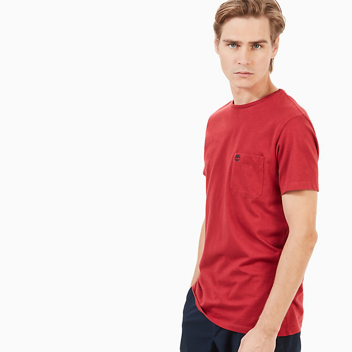 Dunstan River Pocket T-Shirt for Men in Red-