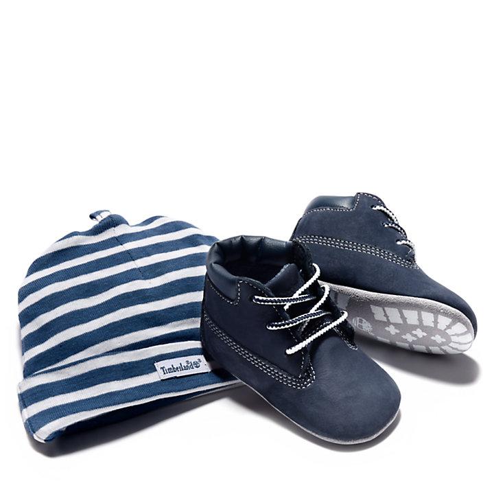 Chausson et bonnet pour bébé en bleu marine-