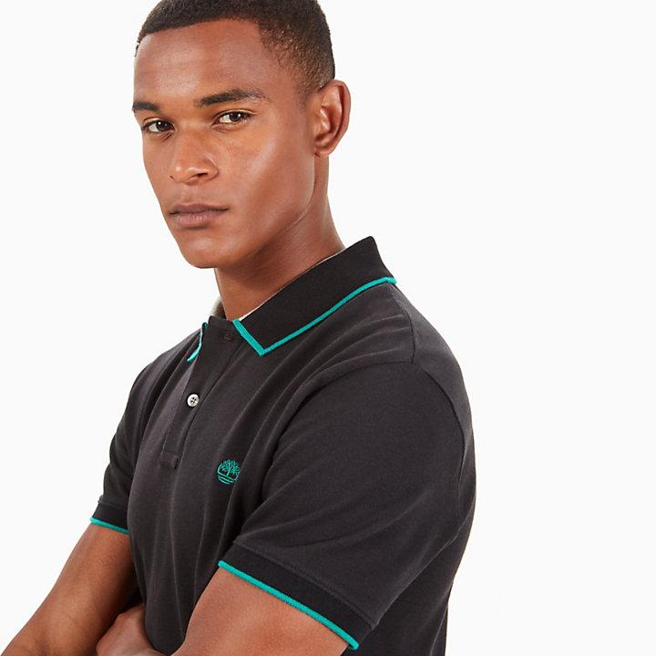 Tipped Piqué Polo Shirt for Men in Black-