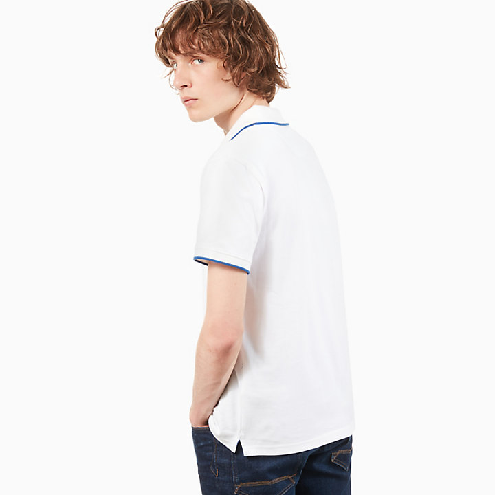 Tipped Piqué Polo Shirt for Men in White-