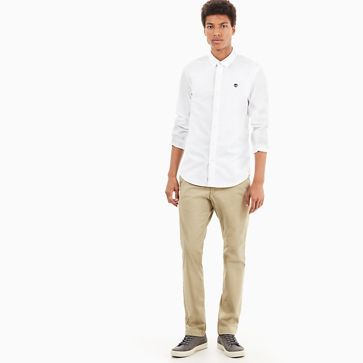 Suncook River Poplin Shirt for Men in White-