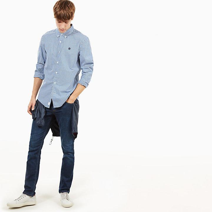 Camisa Gingham Suncook River para Homem em Azul-