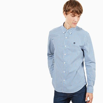 Suncook+River+Gingham+Shirt+for+Men+in+Blue