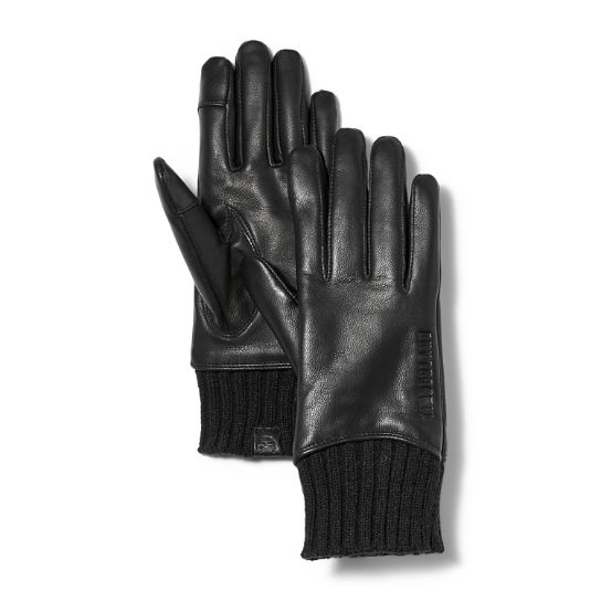 Ribbed-Knit Leather Gloves for Women in Black | Timberland