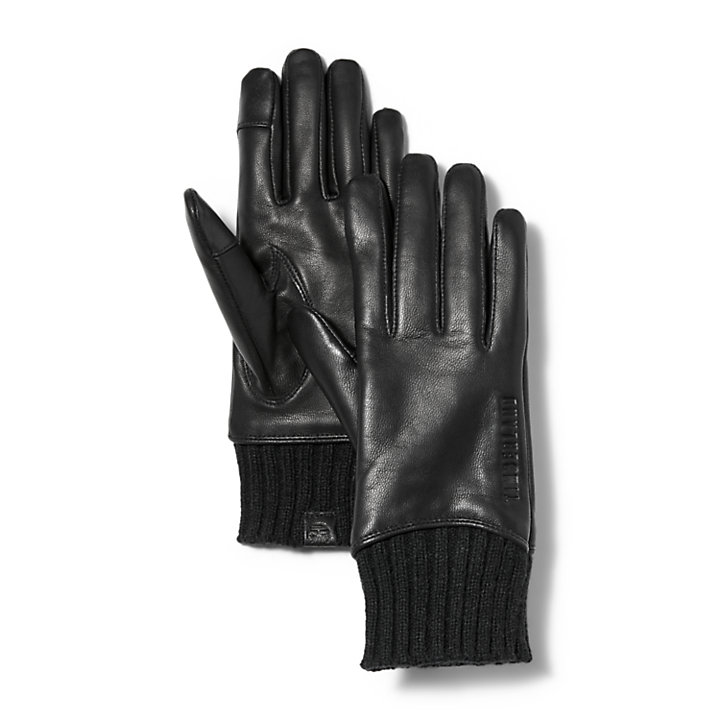 Ribbed-Knit Leather Gloves for Women in Black-