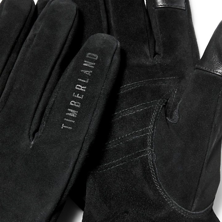 Touchscreen-Handschuhe aus Nubukleder für Herren in Schwarz-
