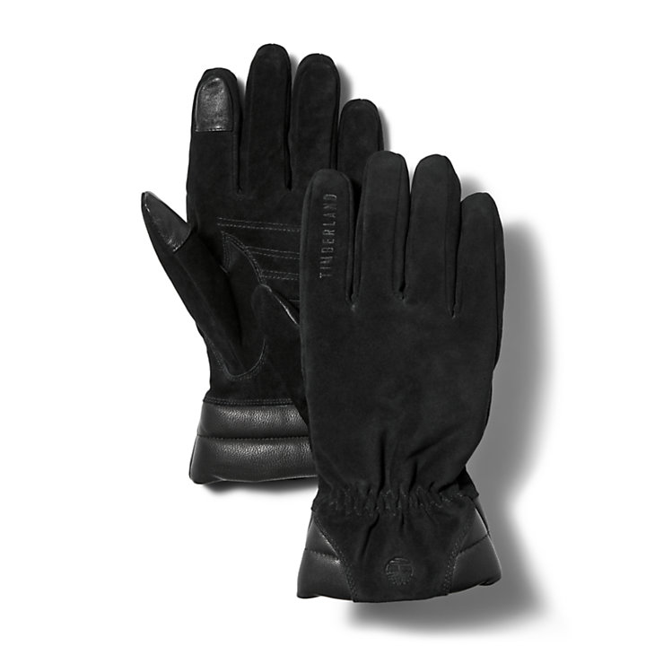 Nubuck Leather Touchscreen Gloves for Men in Black-