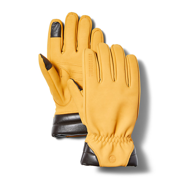 Nubuck Leather Touchscreen Gloves for Men in Yellow-