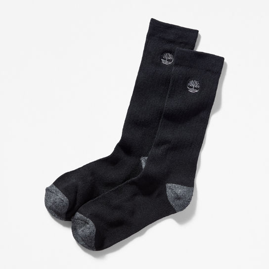 Two Pair Pack Ribbed Crew Socks for Men in Black | Timberland