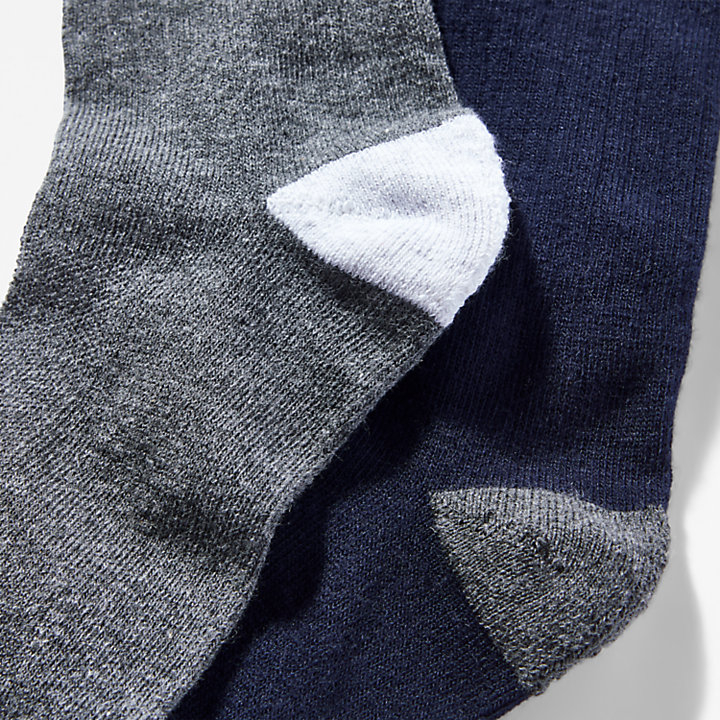 Two Pair Pack Ribbed Crew Socks for Men in Blue-