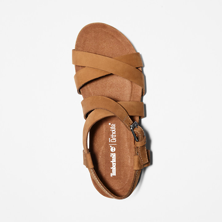 Malibu Waves Ankle Strap Sandal for Women in Brown-