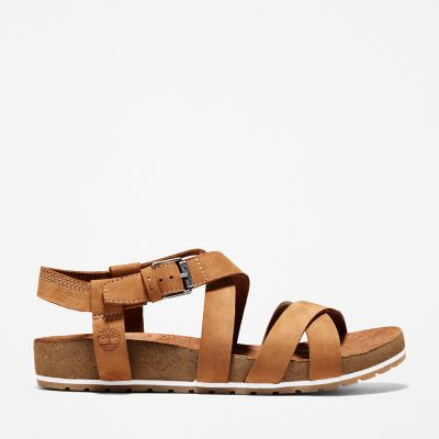Malibu+Waves+Ankle+Strap+Sandal+for+Women+in+Brown