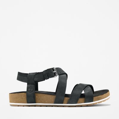 Malibu+Waves+Ankle+Strap+Sandal+for+Women+in+Black