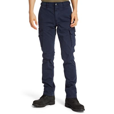 Pantaloni+Cargo+da+Uomo+in+Twill+Squam+Lake+in+blu+marino