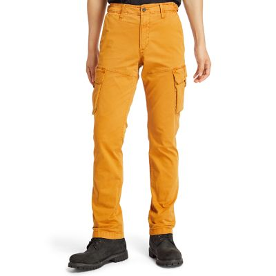 Pantaloni+Cargo+da+Uomo+in+Twill+Squam+Lake+in+giallo