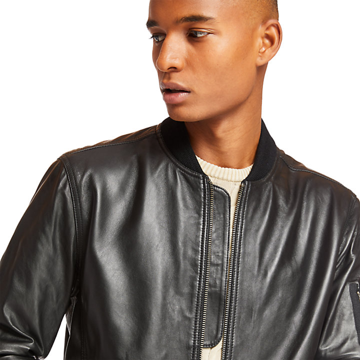 Leather Bomber for Men in Black-