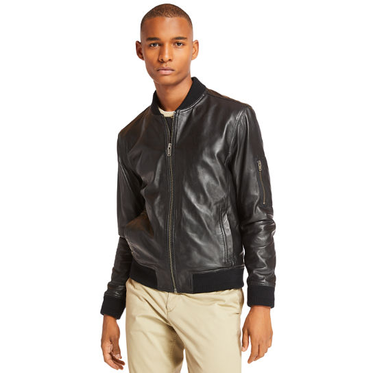 Leather Bomber for Men in Black | Timberland