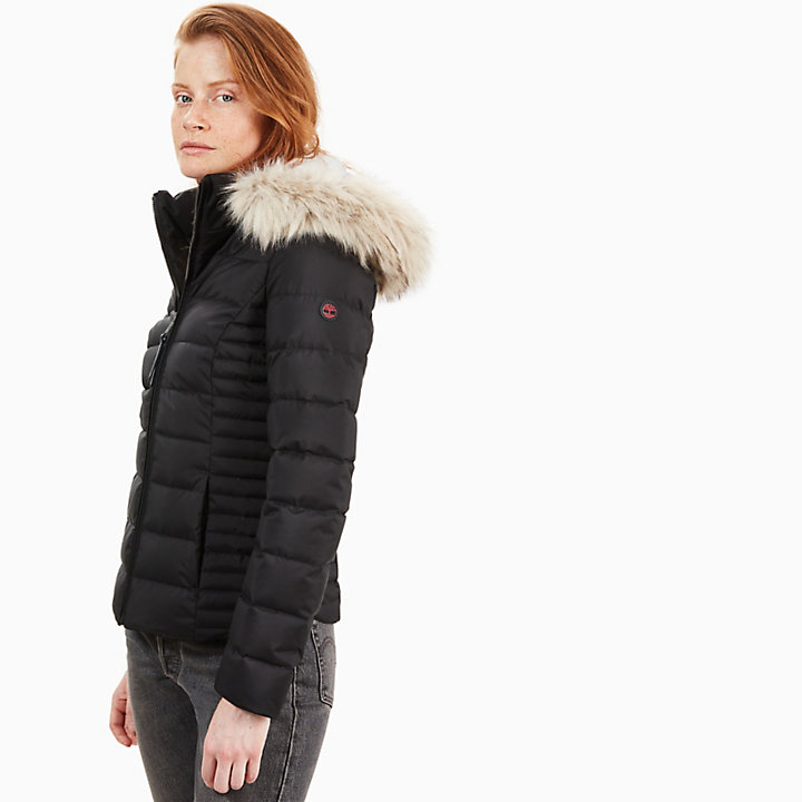 Short Goose Down Parka Jacket for Women in Black-