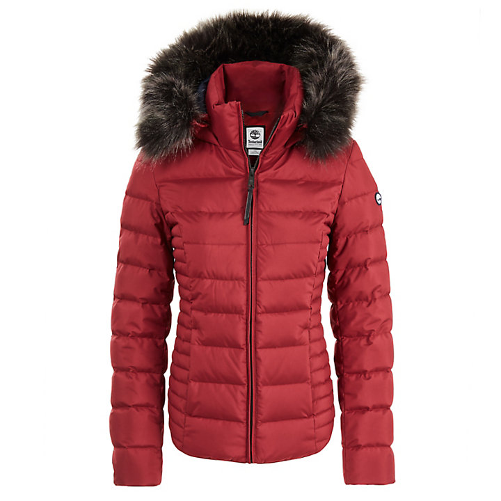 Short Goose Down Parka Jacket for Women in Red-