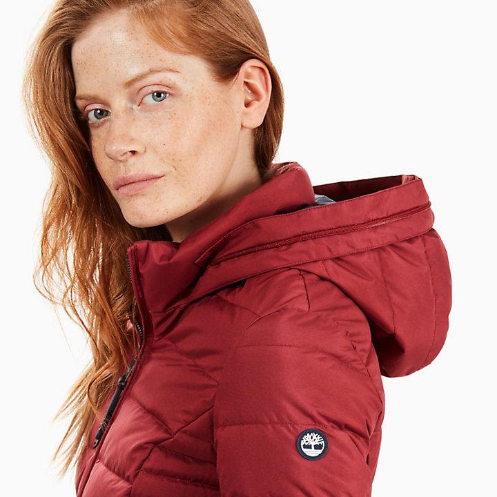 Kurzer Daunenparka für Damen in Rot-