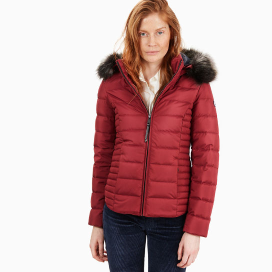 Short Goose Down Parka Jacket for Women in Red | Timberland