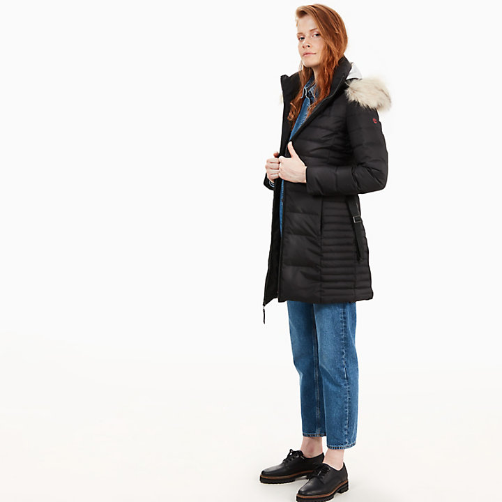 Quilted Goose Down Coat for Women in Black-