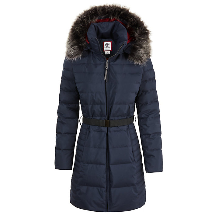 Quilted Goose Down Coat for Women in Navy-