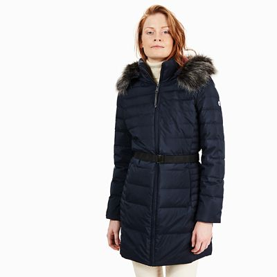 Quilted+Goose+Down+Coat+for+Women+in+Navy
