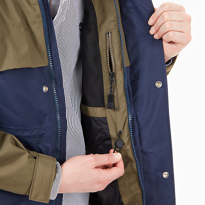Waterproof Jacket for Men in Navy/Green-