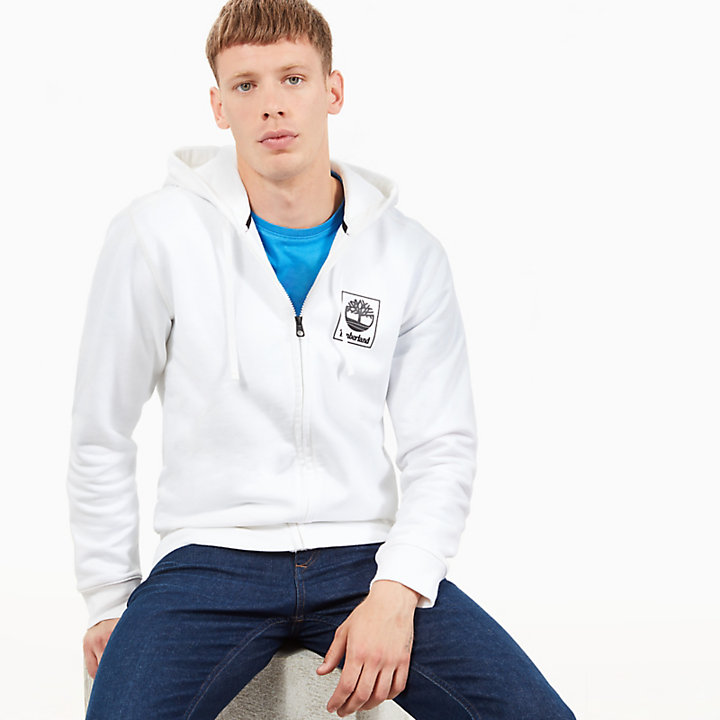 Zipped Hoodie for Men in White-