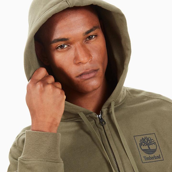 Sudadera con capucha y cremallera para hombre en verde-
