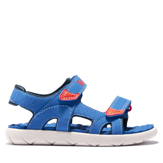 Perkins Row Strappy Sandal for Youth in Blue | Timberland