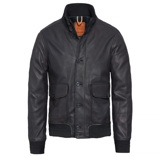 Herren Carter Dome Leather Bomber Schwarz | Timberland