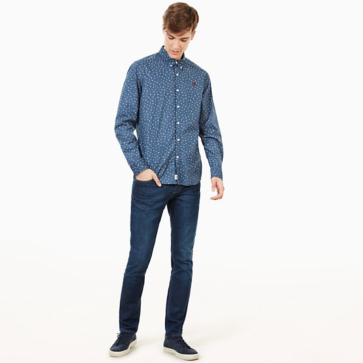 Suncook River Printed Shirt for Men in Indigo-