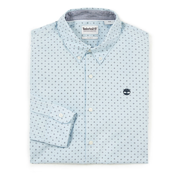 Suncook River Printed Shirt for Men in Blue-