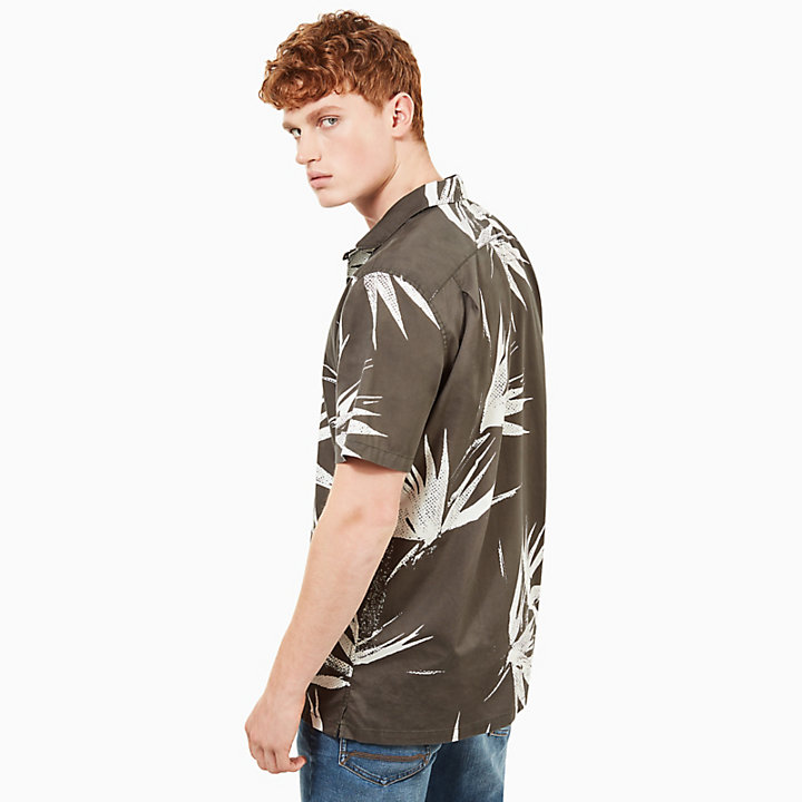 Suncook River Print Shirt for Men in Dark Green-
