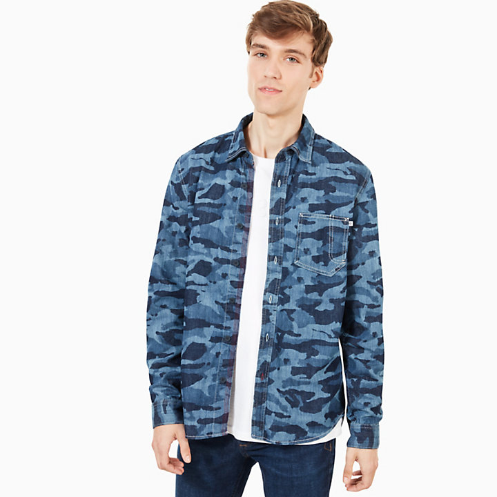 Mumford River Utility Shirt for Men in Blue Camo-